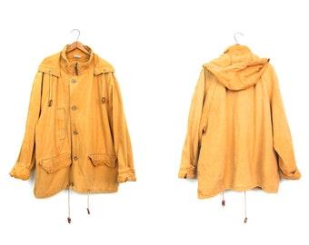 Vintage 90s Parka Coat Golden Yellow Cotton Canvas Field Jacket Zip Up Hooded Coat Oversized Utility Work Coat Mens Large