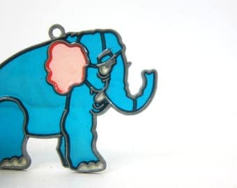 Blue Elephant Stained Glass Art Window Hanging Blue & Pink wall hanging 1980s Craft Folk Vintage Makit and Bakit Suncatcher DES