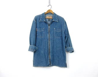Long Denim Jean Shirt with Zipper Front Vintage jean Shirt EXPRESS Oversized Top Zip Up Shirt women's size Medium