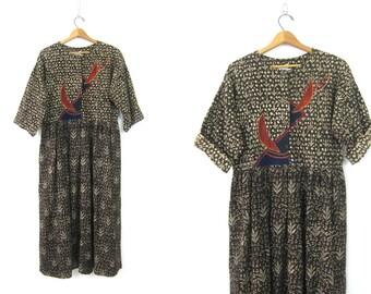 Brown Cotton Frock vintage cotton INDIAN Dress Boho Leaf Print Pattern Festival Dress Loose Fit Tribal Bohemian Chic Maxi Women's Size Large