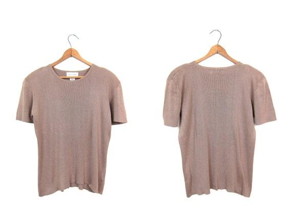 Vintage 90s SILK Ribbed Silk Tshirt Short Sleeve Beige Minimal Knit Sweater Top Preppy Modern Basic Blouse Womens Medium