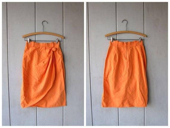 Knotted PEACH 80s Skirt High Waist Wrap Pencil Skirt Bright Orange 1980s Mini Skirt Plain Minimal Hipster Boho Origami Skirt XS Small