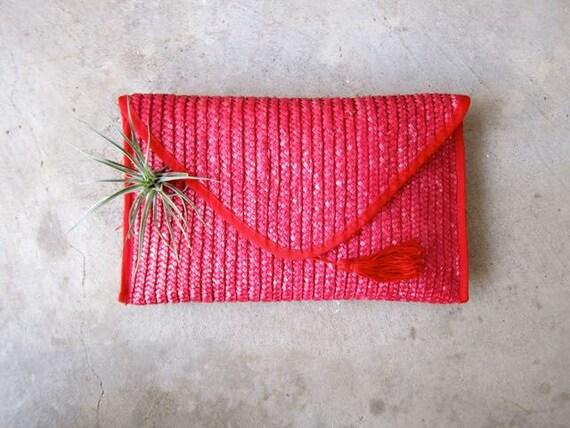 Pink Woven Purse Nantucket Wicker Clutch Japanese Handbag Purse 80s Weave Purse Preppy Boho Hippie Summer Bag DES Envelope Clutch