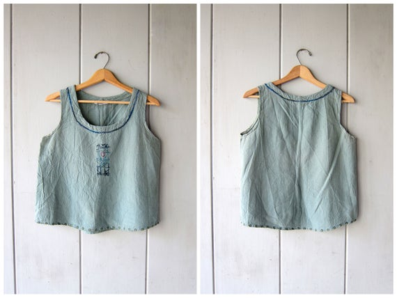 90s Cotton Tank Top Sage Green Cropped Blouse Simple Minimal Basic Tee Embroidered Hand Painted Vintage Top Hippie Top Hearts Womens Small