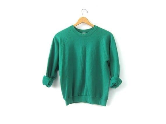 Plain Green Sweatshirt Small Fit Pullover 1990s Basic Sweater Jumper Hipster Spring Preppy Top Size Small Medium Women's