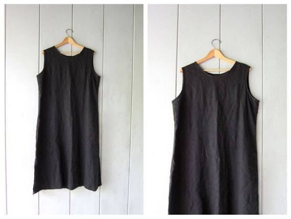 Black Linen Dress Long Black Linen Midi Dress Modern Frock Minimal Loose Fit Tank Dress Vintage 90s Linen Dress Womens Large