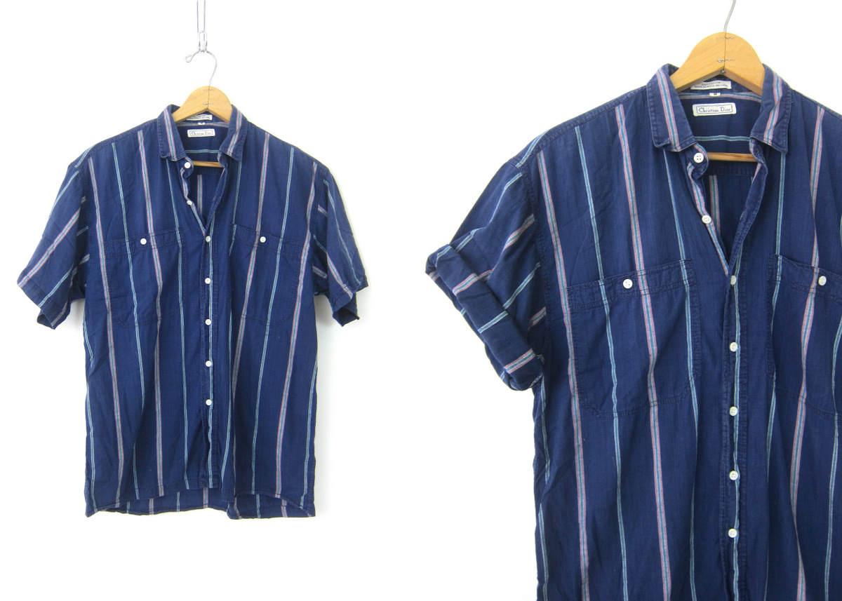 Striped cotton shirt button up christian dior blue for Christian dior button up shirt
