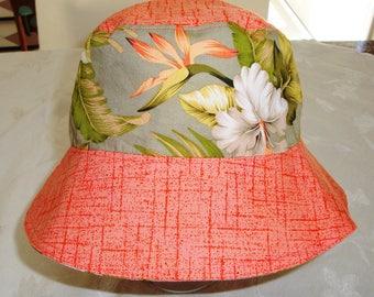 Adult Bucket Hat - Bucket Hat - Reversible Bucket Hat - Cotton Hat - Women's Hat - Sun Hat - Hawaiian Print Hat