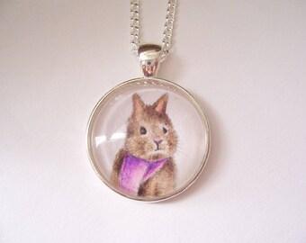 Silver rabbit pendant necklace, original miniature pencil drawing, rabbit pet art, rabbit pendant bunny jewelry, wearable bunny art