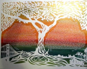 Golden Hamsa Tree of Life Ketubah - Golden Gate Bridge - travel - papercut wedding artwork - calligraphy