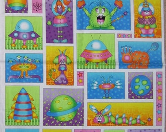 Planet spaceship etsy for Outer space fabric panel