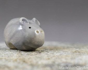 Little Hippo - Terrarium Figurine Miniature Hippopotamus Ceramic Porcelain Animal - Hand Sculpted