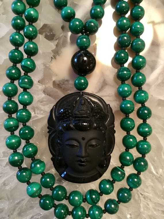 Malachite and Obsidian Mala