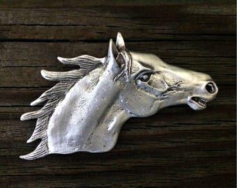 Horse Head Pewter Brooch Pin | Western Jewelry | Horse Jewelry | Country Jewelry | Handcrafted Jewelry | by Treasure Cast Pewter