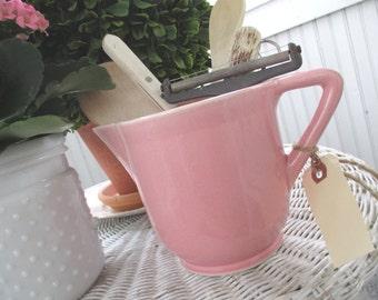 Vintage Pitcher * Pink * Old Farmhouse * Shabby Chic Cottage * Vase * USA * Kitchen Utensil Holder