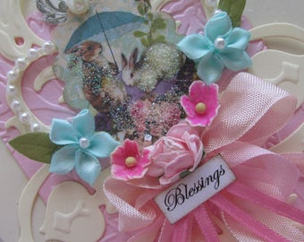 Shabby Easter Card.  Card, Handmade Easter, Art Card,  Embellished Card, Unique Blank Greeting Card,  Mixed Media Art Card