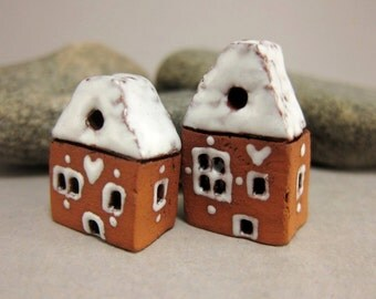 Sugar-coated Lucky Pair...Miniature Terracotta Houses from elukka
