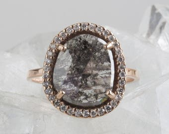 One of a Kind Natural Black Diamond Slice Ring with Pavé Halo