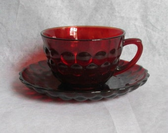 Vintage Anchor Hocking Royal Ruby Red Glass Bubble Cup & Saucer