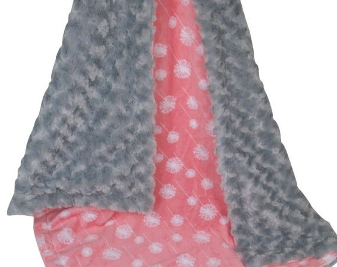 SALE Coral Dandelion and Gray Minky Dot Baby Blanket, Salmon Coral Dandelion Minky Blanket, Coral Rose Swirl Minky BlanketCan Be Personalize