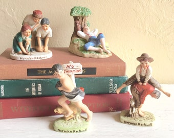 Cute Vintage Norman Rockwell Ceramic Figurines 3-Dimensional - 4 Choices
