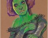 Her Eyes, Original Art, colored pencil art,