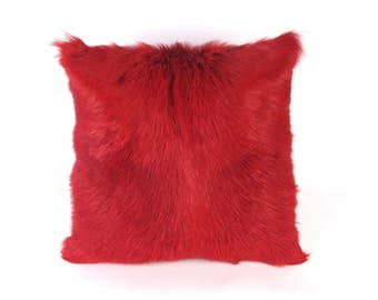 Red Goat Fur Pillow ~ Red Plush Fur ~ Red Fur Pillow ~ Red Accent Pillow ~ Red Goat hair Pillow ~ Red Hide Pillow - Genuine Goat hair ~ Red