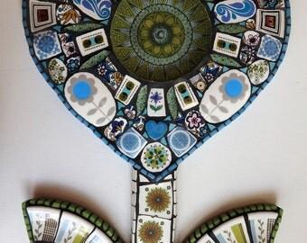 Mosaic Heart Decoration, Retro Heart, 1970's Crockery, Mosaic Art, Blue and Green Heart