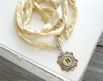 Typewriter Key Necklace. Letter B Necklace. Vintage Typewriter Key Jewelry. Long Boho Sari Silk Ribbon Necklace. Upcycled Eco Friendly Gift.