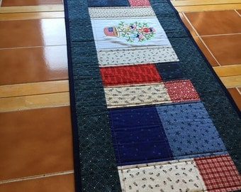 Red, White and Blue Table Runner with Patriotic Tweet / Long 48 x 15 in / July 4th / patchwork / quilted / stars / flag / table topper