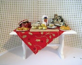 Dollhouse Christmas Baking Day, a filled table ,Christmas baking,  Christmas goodies,  A dollhouse item, twelfth scale