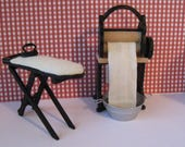 Dollhouse Laundry Mangle Country style mangle Ironing board iron Scullery Laundry  a twelfth scale dollhouse miniature