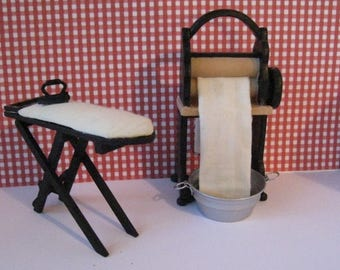 Dollhouse Laundry, Mangle, Country style mangle, Ironing board, iron, Scullery, Laundry,  a twelfth scale dollhouse miniature