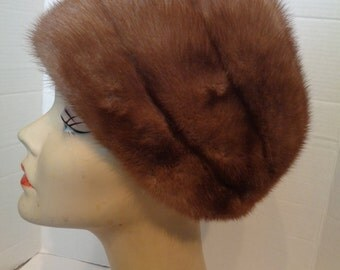 Vintage Light Brown Mink Fur Hat Betmar
