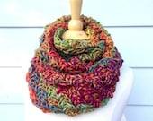 Infinity loop endless scarf, crochet infinity rainbow scarf, hand crochet endless scarf, endless autumn crochet scarf crochet infinity scarf