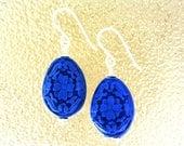 Blue Cinnabar Oval Earrin...