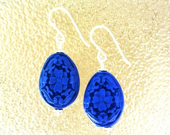 Blue Cinnabar Oval Earrings