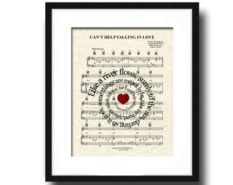 Can't Help Falling In Love Sheet Music Art Print, Elvis Presley, Spiral Lyric, First Dance, Custom Wedding and Anniversary