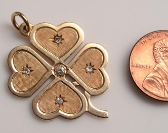 LUCKY YOU!  14t Gold, 4 Leaf Clover Charm, Pendant  set with true diamonds  c.1950's