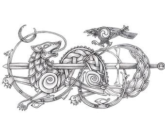 Wolf and Raven Art Print - Choose Your Size - Celtic Knotwork - Norse Inspired
