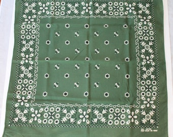 Vintage Dark Green Fast Color Bandana, All Cotton