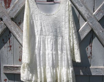 1990s Casual Express white lace mini dress M L XL
