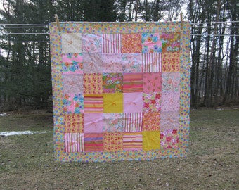 Pink Knotted Patchwork Lap Quilt with Flannel Backing