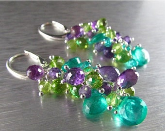25OFF Colorful Aqua Green Quartz With Amethyst And Peridot Sterling Silver Cluster Dangle Earrings
