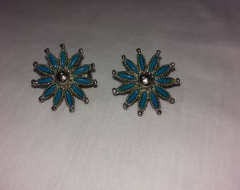 Vintage Turquoise & Silver Tone Star Earrings Clips