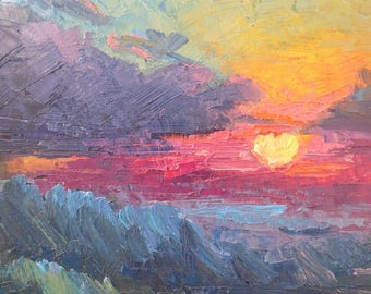 "Expressionist Abstract Sunset Painting, Daily Painting, Small Oil Painting, Palette Knife Painting, 8x10"" Oil on Panel"