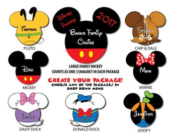 Disney Inspired Mickey & Friends Disney Cruise Family Magnet Package - Create Your Own Package