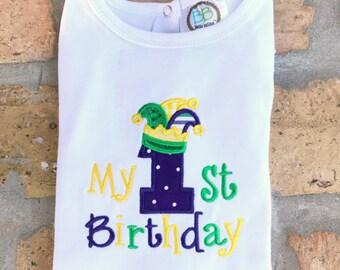 Mardi Gras Themed 1st Birthday Shirt