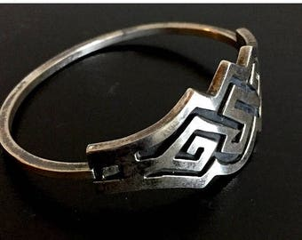 SALE Vintage Taxco 925 Sterling Bracelet Geometric Aztec Mexico Hinged Cuff Bangle Black Oxidized Channels