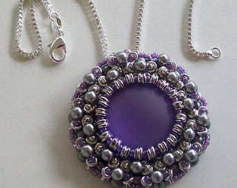 Purple Lunasoft Lucite Cabochon with a Purple and Silver Beaded Frame on Sterling Silver Chain by Carol Wilson of Je t'adorn